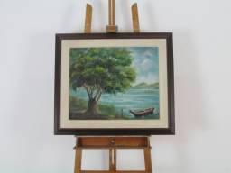 Quadro óleo sobre tela, tema beira rio