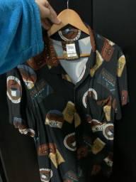Camisa de botão manga curta Zara