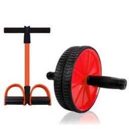 Kit elástico exercício mais roda exercício lombar e abdominal e varios músculos