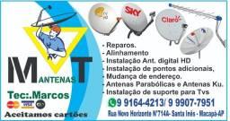 Técnico instalador de Antenas via Satélite e Digital e manutenções .