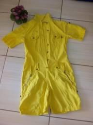 Macacão lindo amarelo super Tumblr novo soque não usado