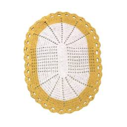 Tapete oval de crochê 62cm amarelo