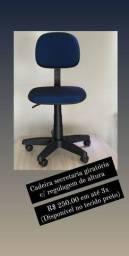 Cadeira secretaria pronta entrega cor azul em tecido