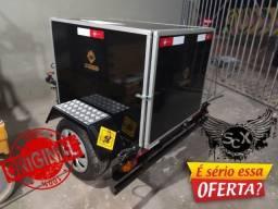 Mini carretinha baú para entregas Moto e Carro. carga segura contra furto e chuvas