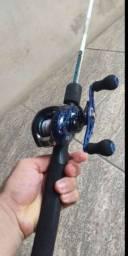 Carretilha+Vara+Linha(kit de pesca)