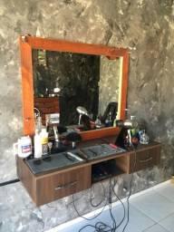 Bancada com Espelho para Barbearia ou Salão