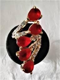 Anel Dourado Gotas Vermelhas