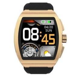 Relógio inteligente smartwatch C1 original em aço escovado