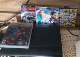 PS3 com 5 jogos, 1 Controle, Cabo carregador do controle, Cabo HDMI, Cabo de alimentação
