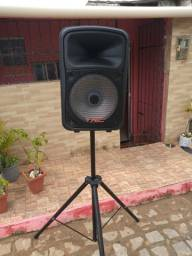 Caixa de som amplificada completa + Microfone novo