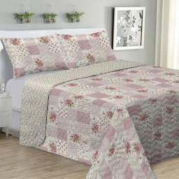 Colcha Casal Matelassê 2,20x 2,40 2 Porta-travesseiros Floral Dupla Face Texhome