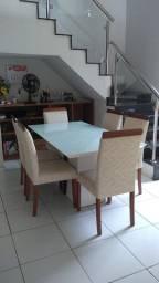 Mesa de vidro c/ tampo branco e 6 cadeiras