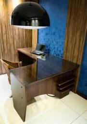 Mesa computador c/ tampo de vidro e gaveteiro