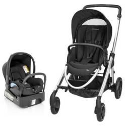 Travel System Elea: Carrinho de Bebê até 15Kg Raven Black + Bebê Conforto Streety Fix Rave