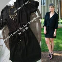 1 Vestido Lana Rosa tam G ate gg novo original forrado preto 98% poliéster 2% elastano