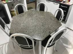 Mesa pedra mármore 6 cadeiras $750,00