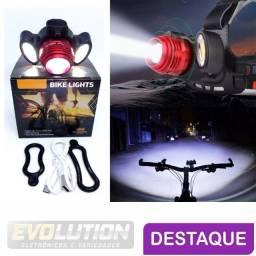 Lanterna LED t6 2 leds r2 triplo de cabeça ou Bike recarregável com zoom