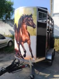 Carretinha reboque trailler p/ 02 cavalos