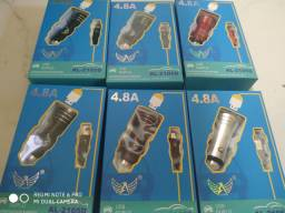 Carregador veicular 4.8 USB duplo Altomex