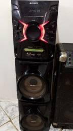 Um som completo funcionando perfeitamente e uma caixa de som ,390 reais