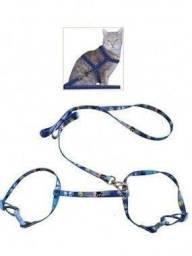 Conjunto Guia e Peitoral Ajustável para Gatos