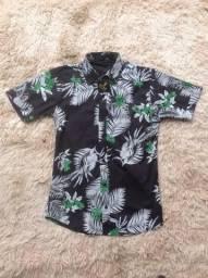 Camisa Social Masculina Florida Manga Curta Preta