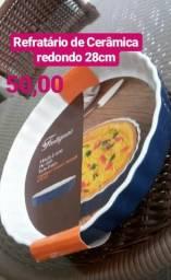 1 Refratario de ceramica 28cm redondo azul novo