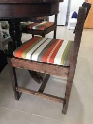 Conj 4 cadeiras madeira colonial