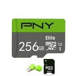 Cartão de memória novo micro sd 256gb elite pny + adaptadores