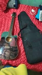 Violão guitarra cubo pedaleira cabo e alguns adaptadores