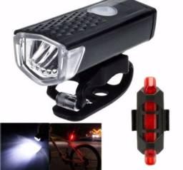 Kit lanterna frontal e traseira de Led para bicicleta