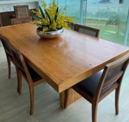 Conjunto de Mesa de madeira para varanda gourmet