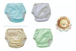 Kit Com 5 Fraldas Plástica Ecológica Calça Enxuta