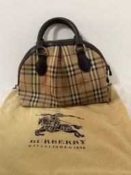Bolsa seminova tote burberry couro clássica original