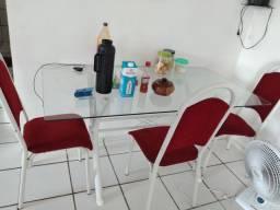 Mesa de vidro 4 cadeira
