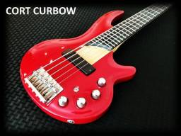 Baixo Cort Curbow 4 cordas vermelho. Queima de preço. Contrabaixo em 10x no cartão