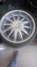 Aro 20 4x100 com 4 pneus zero(troco Leia)