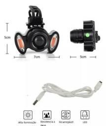 (NOVO) Farol Lanterna Bike 3 Focos Led Com Zoom Recarregável T6