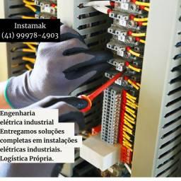 Instalação de rede de ar comprimido e rede elétrica