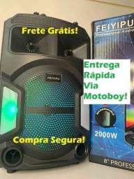 Caixa Musical Bluetooth de 2000W + Microfone + Controle! Frete Grátis!