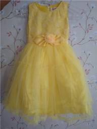 Vestido Infantil Festa amarelo ou creme
