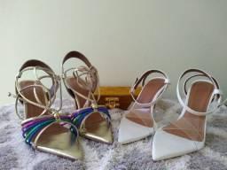 Combo sandálias bico folha (dois pares )