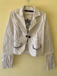 Jaqueta Branca bordada e strass