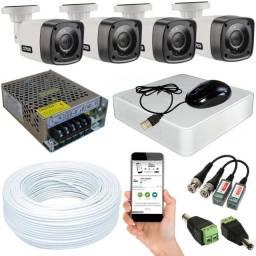 Sistema completo de câmaras com 4 câmaras HD 12x Sem Juros
