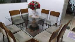 Vendo Mesa Madeira e Vidro 8 Cadeira