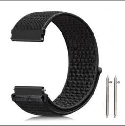 Pulseira de Nylon Preta 20mm para Smartwatch