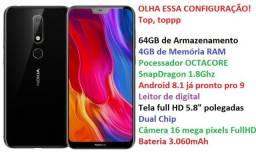Nokia X6 6.1 Plus Snapdragon 636, 4GBb RAM, 64GB Lacrado, Garantia, Top de Linha Lindo!