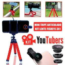 Kit Youtuber Mini Tripé Flexivel + Lente 3x1 Fisheye