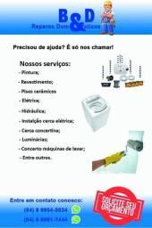 Concerto máquina de lavar; instalação cerca elétrica; pintura; elétrica; luminárias;