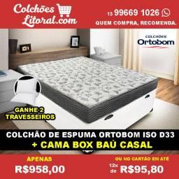 Cama box Cama Box Baú Casal + Colchao Ortobom D33 - Frete Grátis - cama box cama box